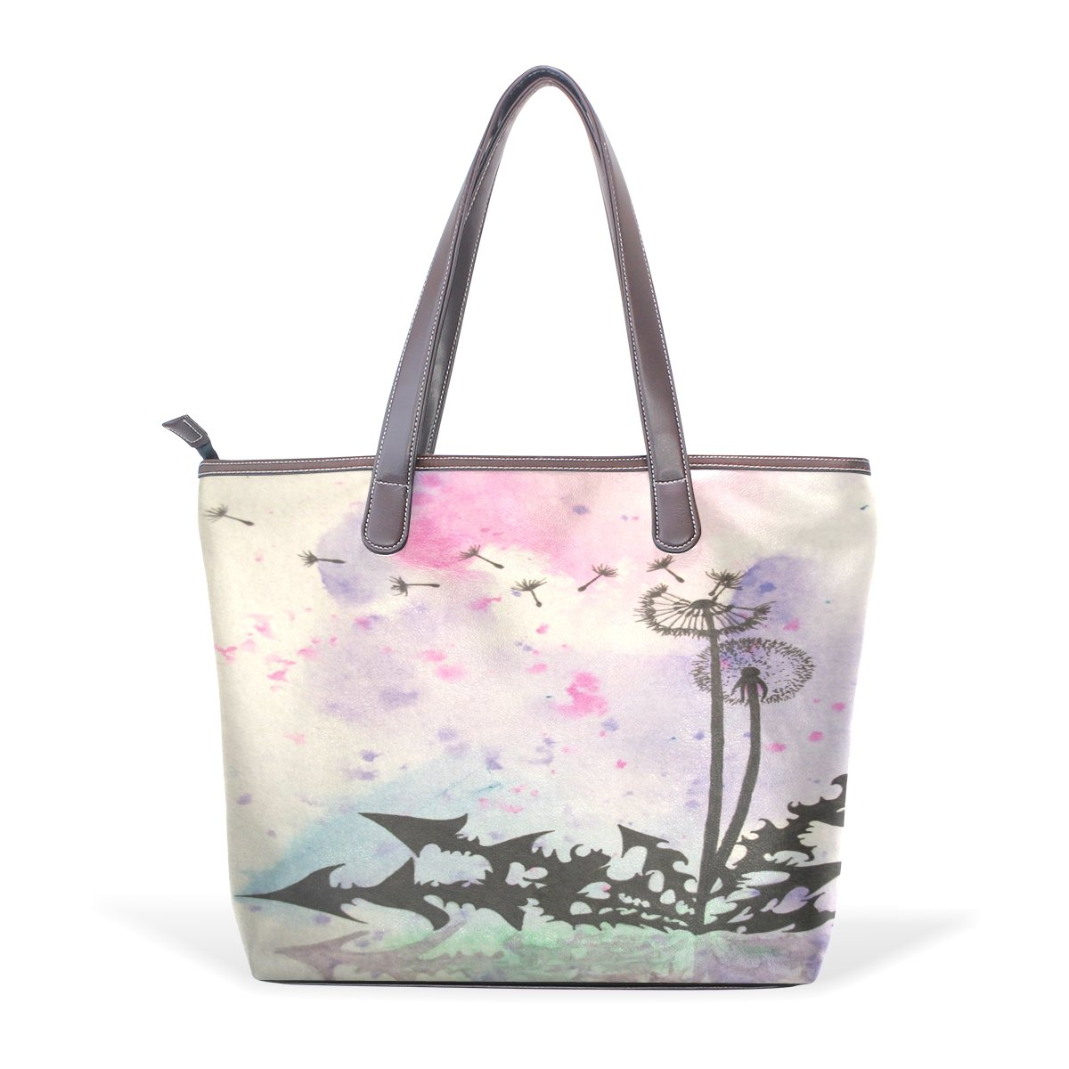 Ye Store Dandelion Watercolor Lady PU Leather Handbag Tote Bag Shoulder Bag Shopping Bag
