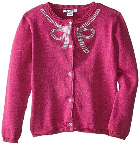 Hartstrings Little Girls' Silver Bow Cardigan Sweater, Pink Tartan, 6X (Hartstrings Cotton Cardigan)