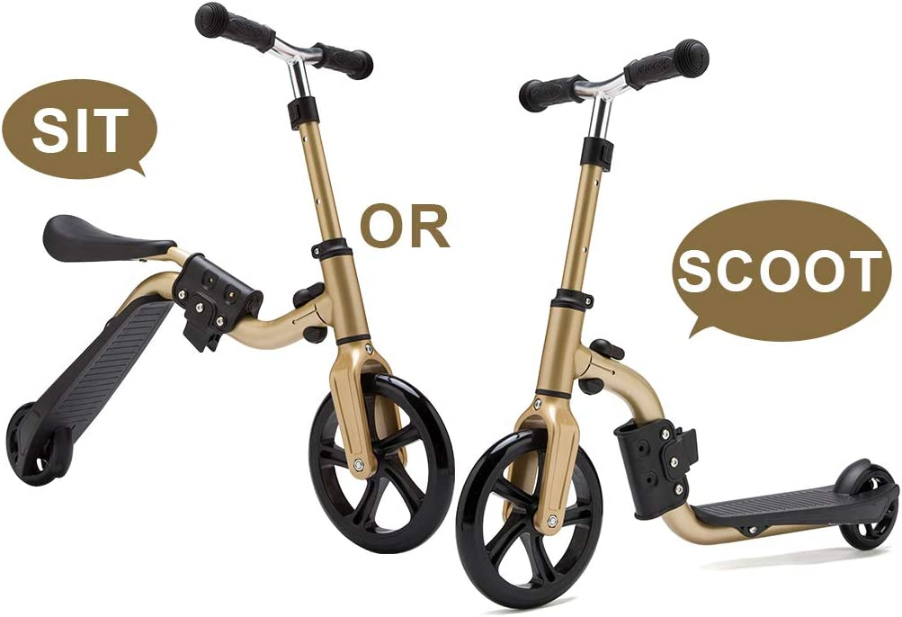 KAMURES 2-in-1 2 Wheels Kick Scooter with Removable Seat for Kids Toddlers, Balance Bike, 3 Adjustable Height Kids Scooter, Best Birthday Gift for Baby Boys Girls Age 2-8