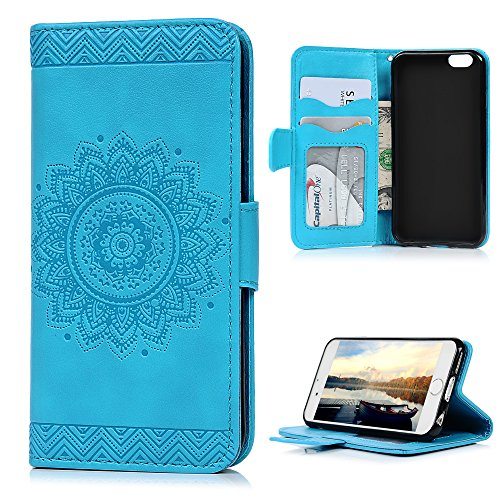 Gold Box Deals (iPhone 6S Plus / 6 Plus Case, YOKIRIN Unique Design Premium PU Leather Dream Catcher 3D Relief Embossing Cover with Credit Card Holder Kickstand Magnetic Closure for iPhone 6 Plus)
