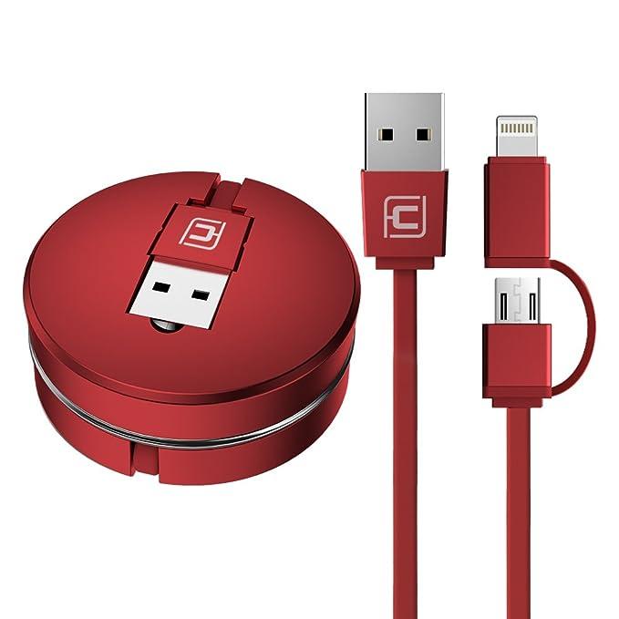 3 opinioni per Caricabatterie & cavo usb avvolgibile, cafele 2in 1Macaron Lightning Micro USB
