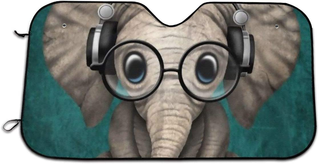 CHILL/·TEK Sitting Elephant with Glasses and Headphone Universal Car Front Window Visor Cover Block Sun and Heat with Personalized Printed Size 51.2x27.5 Inch