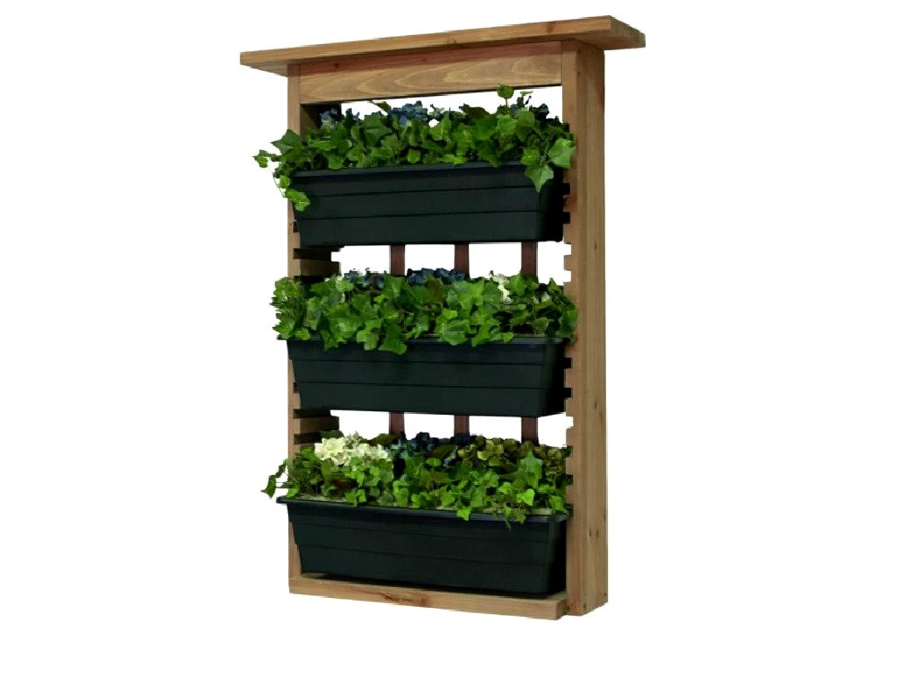 Garden Wall Planter Wood Outdoor Patio Yard Decorative Construction Freestanding 3 Planters With Drain - Skroutz Deals