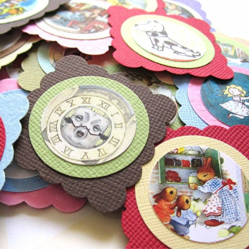 Children Storybook Square Favor Tags - Kid Boy Girl Baby Shower Gift Tags or Confetti - Set of - Tags Scrapbooking Dog