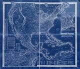 Vintography 18 x 24 Blueprint Style Reprint 1861 Goldthwait's map The United States, British Provinces, Mexico, Central America, W. India is. &c, exhibiting The Railroads Their Distances, Single dou