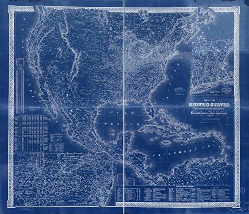 Vintography 18 x 24 Blueprint Style Reproduced Old Map 1861Goldthwait's map The United States, British Provinces, Mexico, Central America, W. India is. &c, exhibiting The Railroads Their Distances,