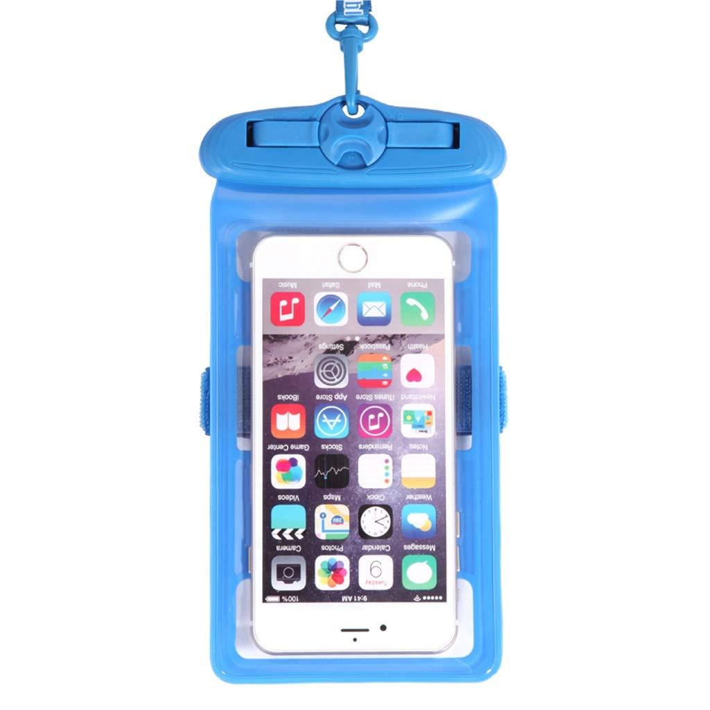 Hzpxsb Mobile Phone Waterproof Bag Universal Touch Screen Mobile Phone Swimming Underwater Photo Seal Diving Suit Waterproof Bag Multifunction Mobile Phone Bag (Color : Blue)