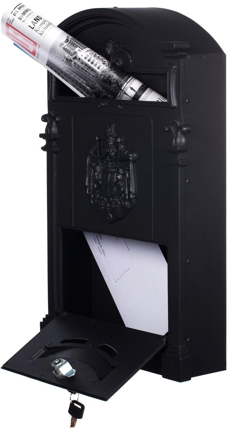 Antiker gro/ßer und sehr edler Briefkasten LB-001-Long Schwarz Wandbriefkasten mit 2 Schl/üsseln Briefkasten Mit Befestigungsmaterial f/ür die Wand Rostfrei Nostalgischer Englischer Briefkasten Metall 47 cm hoch