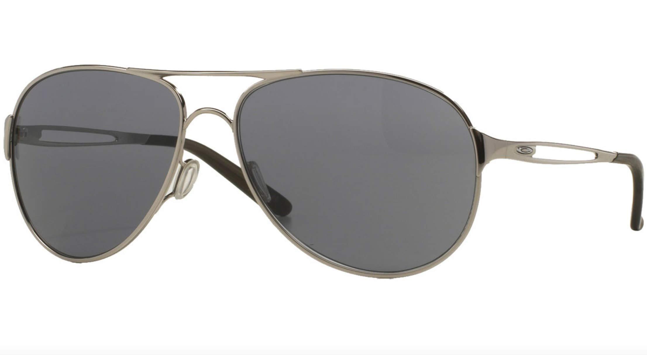 Oakley Women's OO4054 Caveat Aviator Metal Sunglasses, Polished Chrome/Grey, 60 mm by Oakley
