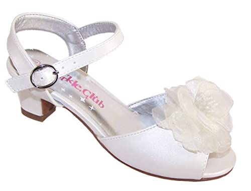 acf74b5a38 Amazon.com | Girls' Ivory Dress Shoes Flower Girl Bridesmaid Low Heeled  Sandals Synthetic Mary-Jane | Shoes