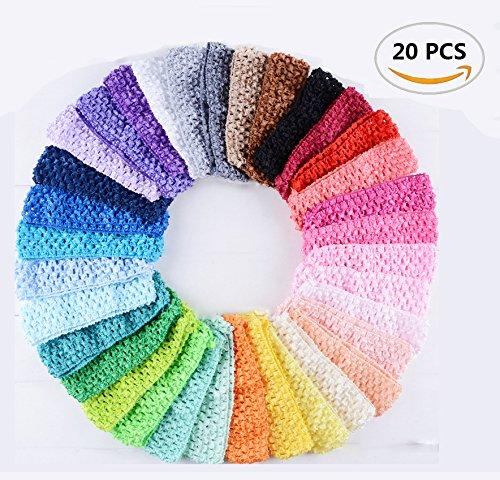 20PCS Fireboomoon Baby Girl Headbands Elastic Crochet Hair Bands Hair Accessories,Boutique Girls Stretch (Stretch Crochet)