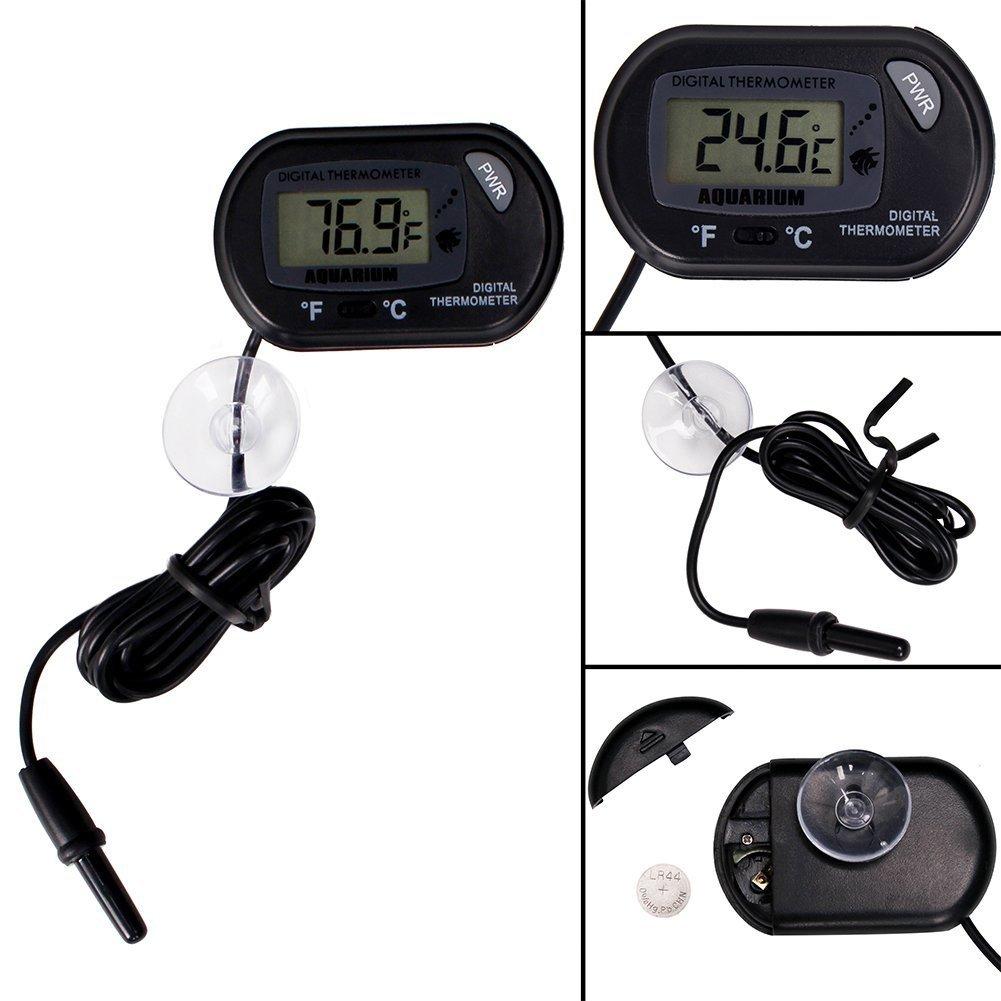 CoZroom LCD Digital Aquarium Thermometer for Fish Tank Water Vivarium Temperature Sensor, Pack of 3, Black by CoZroom (Image #6)