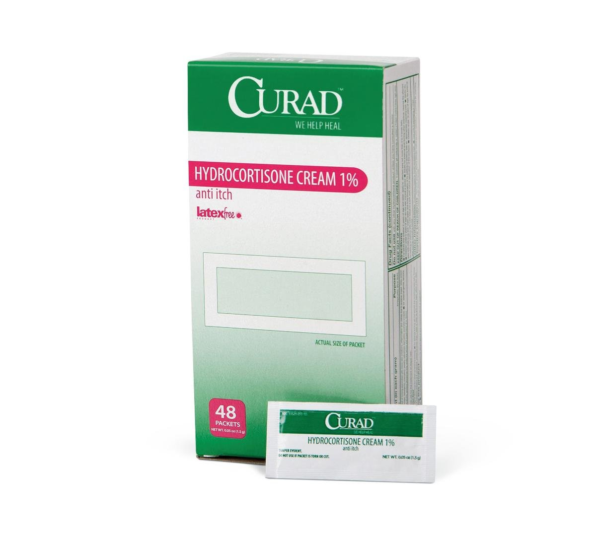 Medline CUR015408 Curad Hydrocortisone Cream 1%, 1.5 g Packets, 0.05 oz (Pack of 288) by Curad