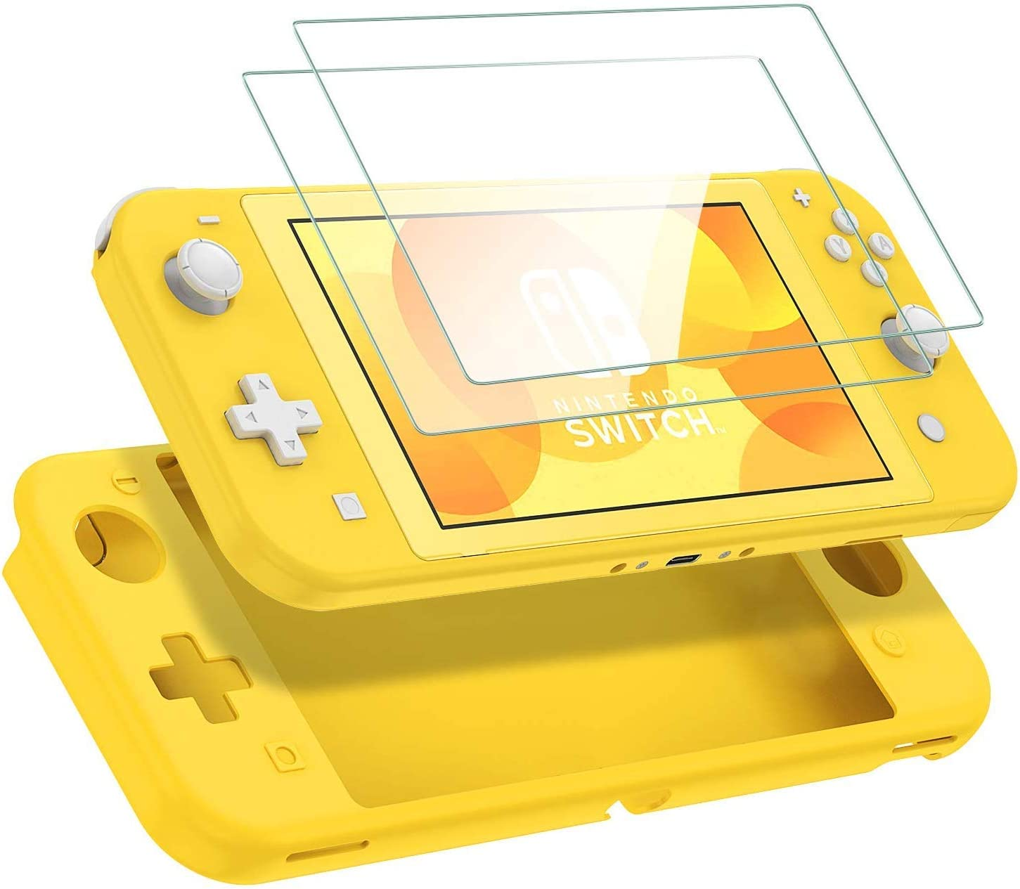 VOEER Funda Carcasa para Nintendo Switch Lite, Suave Silicona Funda Ultrafina TPU Anti-arañazo Funda Protectora para Nintendo Switch Lite con Protector de Pantalla de Vidrio Templado (Amarillo): Amazon.es: Electrónica
