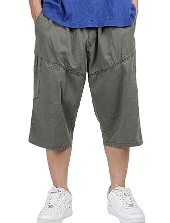 2b6e7f27e427 NiSeng Classic Bermudas Cargo Shorts Übergröße Für Herren Multi Tasche Cargo  Dreiviertel Hosen Mit Dehnbund  Amazon.de  Bekleidung
