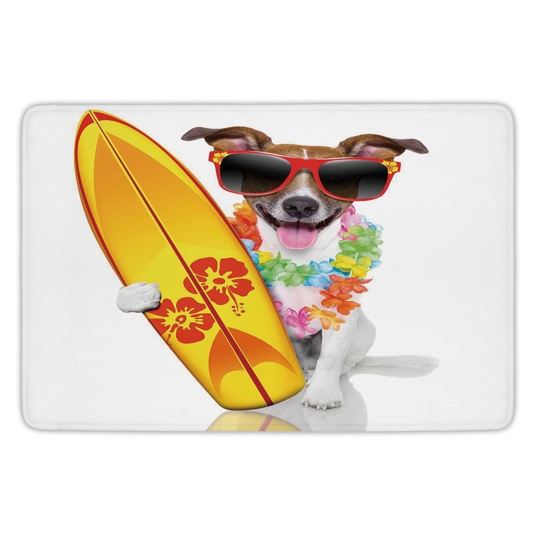 Bathroom Bath Rug Kitchen Floor Mat Carpet,Ride The Wave,Surfer Puppy with Sunglasses and Tropical Hibiscus Flowers Hawaiian Dog Print,Multicolor,Flannel Microfiber Non-slip Soft Absorbent