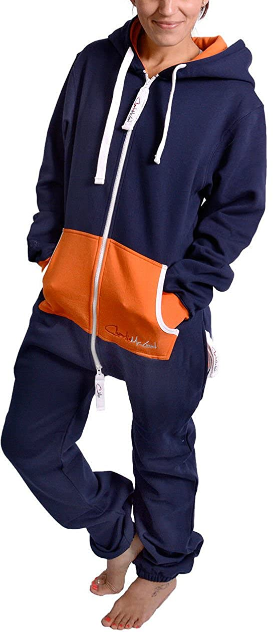 Charlie McLeod The Classic Unisex Contrast Onesie in Inky Blue and Orange. The Perfect Adult Onepiece Jumpsuit with Free Matching Bag from