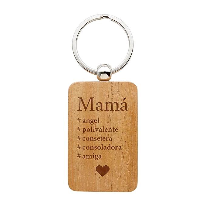 Casa Vivente Gravado – Llavero con Grabado – Hashtag mamá – Colgante Rectangular de Madera – Regalo para Mamá – Regalo Ideal para Cumpleaños