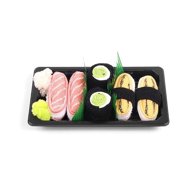 Sushi - Caja de calcetines 3 pares - Tamago, Maki pepino, Salmón: Amazon.es: Ropa y accesorios