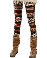 LOCOMO Women Reindeer Deer Snow Snowflake Legging S-M