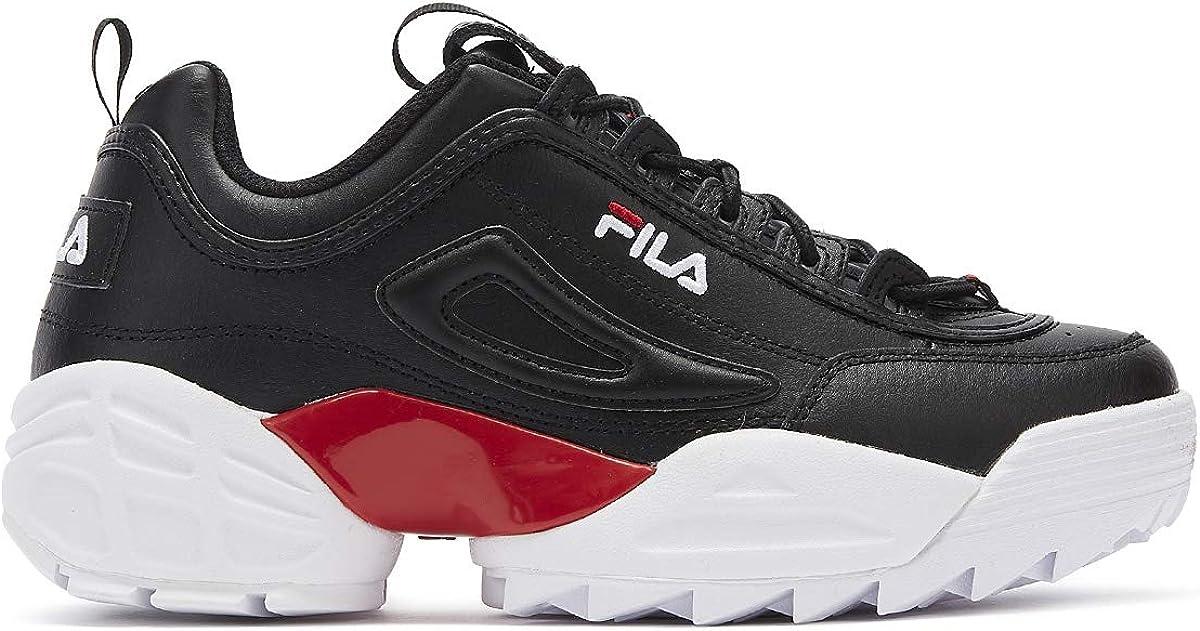 Fila Disruptor II Lab Hombres Negro/Rojo/Blanco Zapatillas-UK 7 / EU 41: Amazon.es: Zapatos y complementos