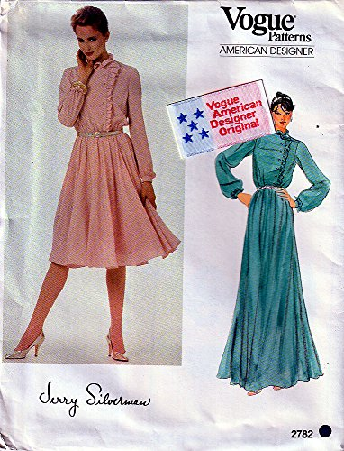 Vogue American, 2782, Sewing Pattern for Size 8 Misses Jerry Silverman Designer Blouson Dress or Gown with Side Button Ruffled Into Stand-ruffle Collar Bodice, Set in Sleeves & Elastic Waist Casing.