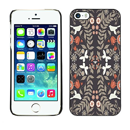 Soft Silicone Rubber Case Hard Cover Protective Accessory Compatible with Apple iPhone? 5 & 5S - wallpaper vintage flowers white doves