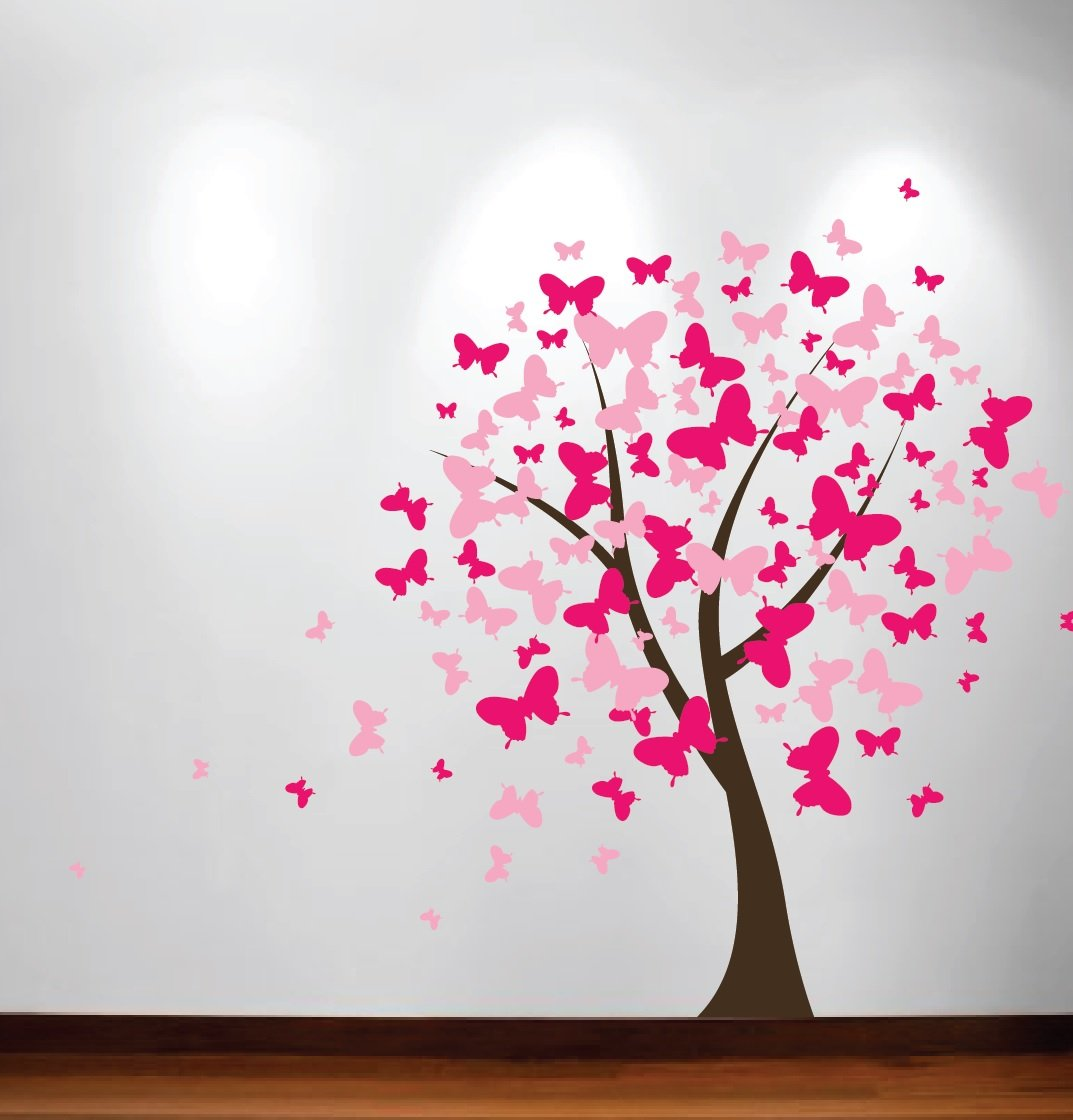 Amazon butterfly nursery tree wall decal blossom girls room amazon butterfly nursery tree wall decal blossom girls room 1140 6 feet tall home kitchen amipublicfo Image collections
