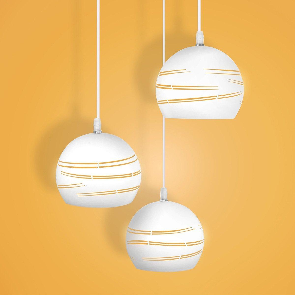 Modernes Hängendes Der Licht Esszimmer Der Hängendes Wand Küchenlampe Hohle Einfache Linien Stil Mit 3 Einstellbar Licht AC 85-265V, LED Birne Pendelleuchte Beleuchtung Leuchte Innen Metall Hängeleuchte Wohnzimmer 3b4507