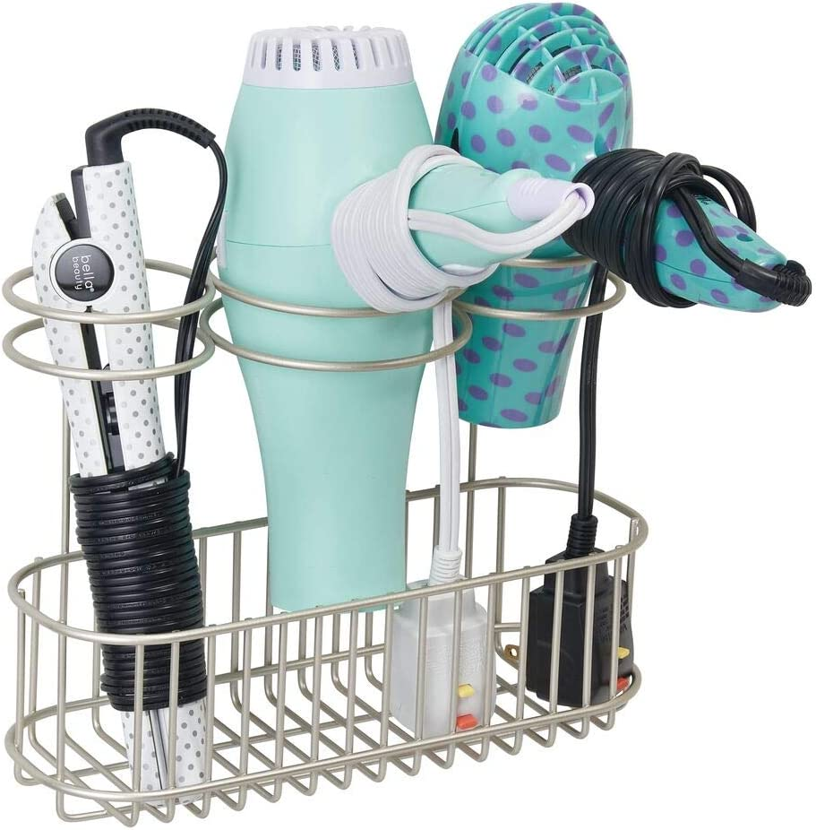 mDesign Wall Mount Bathroom Hair Care & Hot Styling Tool Organizer Storage Basket for Hair Dryer, Flat Irons, Curling Wands, Hair Straighteners, Brushes, Combs - 3 Sections - Satin