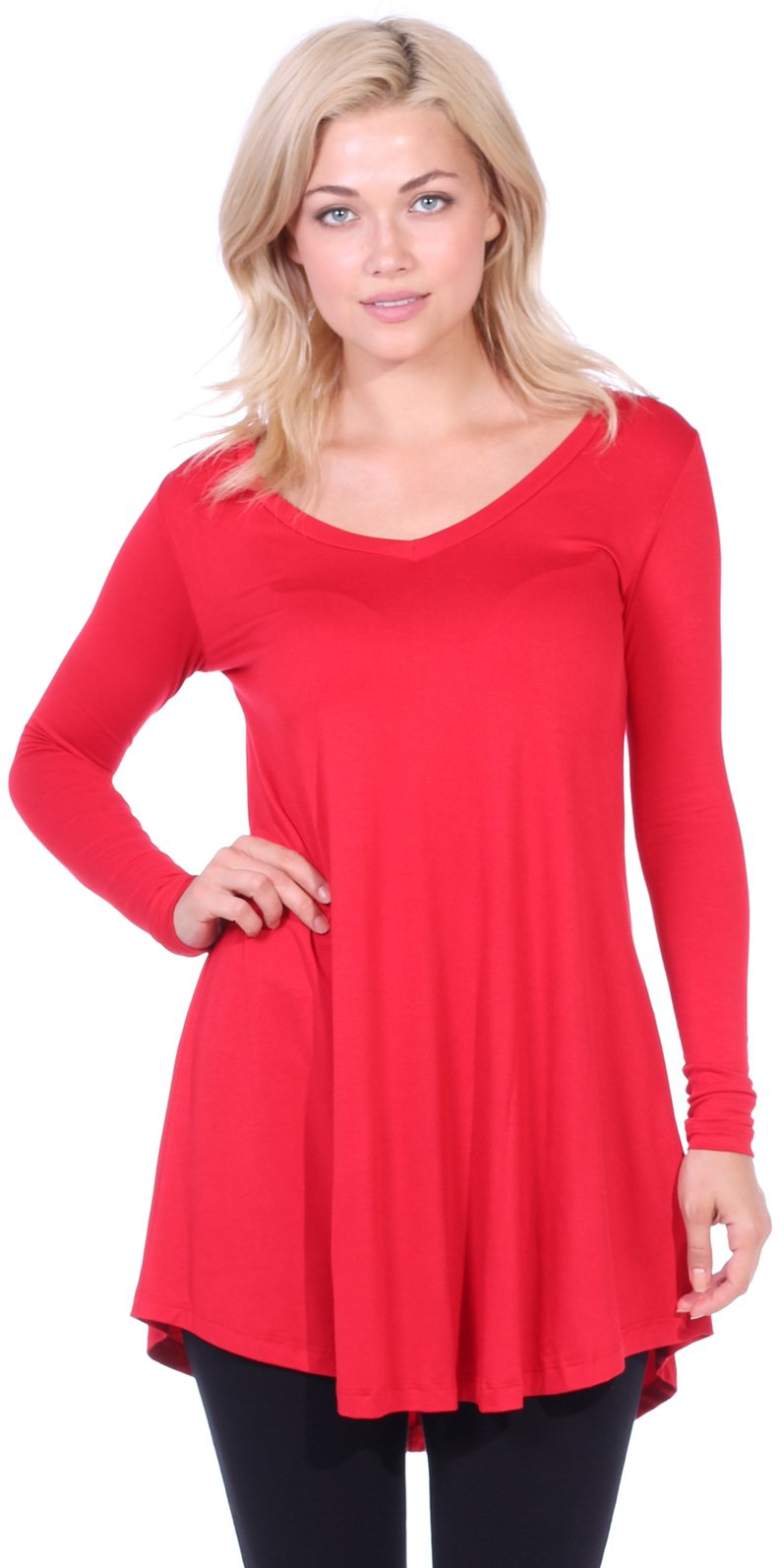 6d2acc18855 Popana Women s Tunic Tops for Leggings Long Sleeve Shirt Plus Size Made in  USA X-Large Red