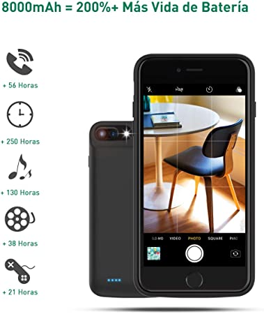 Wellwerks Funda Bater/ía 8000mAh Externa Bater/ía para iPhone 8 Plus //7P //6P //6SP
