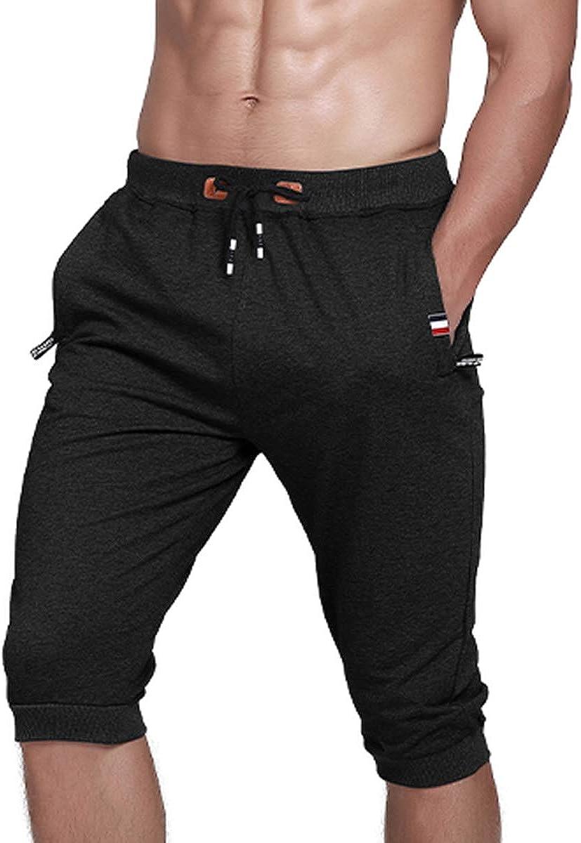 Gopune Mens Cotton Casual Shorts 3//4 Jogger Capri Pants Workout Summer Short with Zipper Pockets