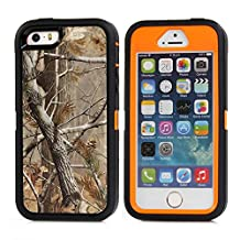 MOONCASE iPhone SE Case, [Realtree Camo Series] 3 Layers Heavy Duty Defender Hybrid Soft TPU +PC Bumper Triple Shockproof Drop Resistance Protective Case Cover for Apple iPhone 5 / 5S / iPhone SE -Orange Tree