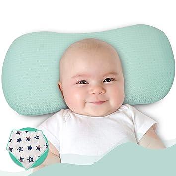 Almohada para dar forma a la cabeza del beb/é Almohada de apoyo para la cabeza de espuma de memoria transpirable para reci/én nacidos y beb/és