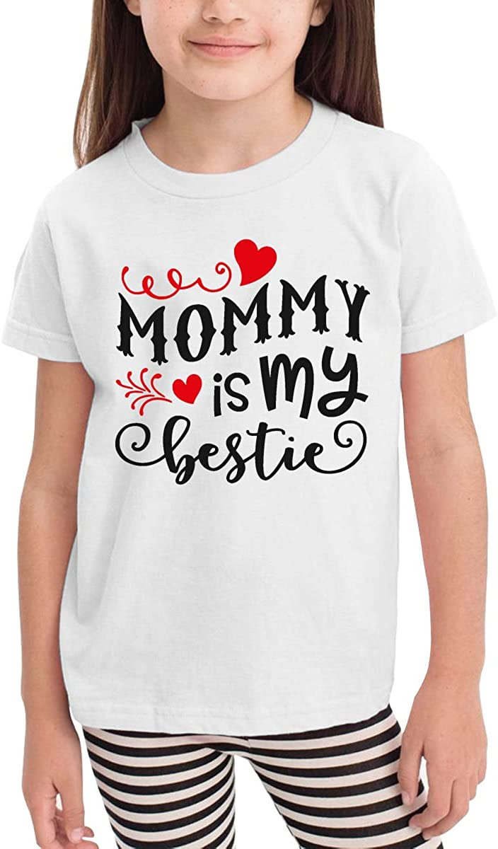 Mommy is My Bestie Novelty Cotton T Shirt Personality White Tee for Toddler Kids Boys Girls