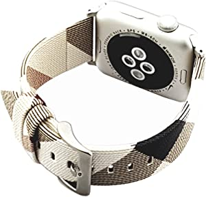 NewSilkRoad 38mm 40mm Classic Plaid Pattern Leather Replacement Watch Band Strap with Stainless Metal Buckle Compatible for Apple Watch Series 5 4 3 2 1, Sport & Edition (F)