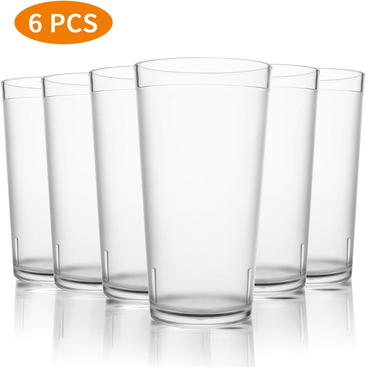 PEMOTech Reusable Plastic Drinking Glasses Set of 6,16 oz Bistro Drinking Cups Plastic,Dishwasher Safe BPA Free Stackable Plastic Cups,Larger Unbreakable Shatterproof Frosted Plastic Tumbler Cup