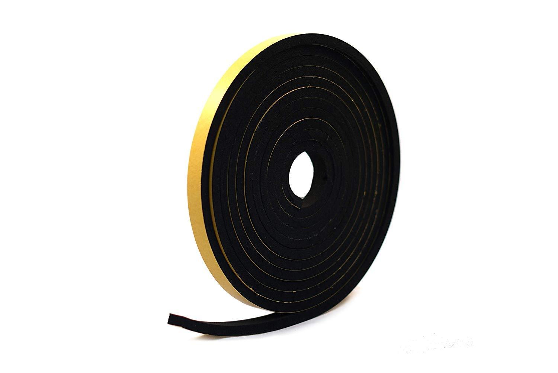 Ruban /éponge autocollant en n/éopr/ène Noir 10 mm de large x 6 mm d/épaisseur x 10 m de long
