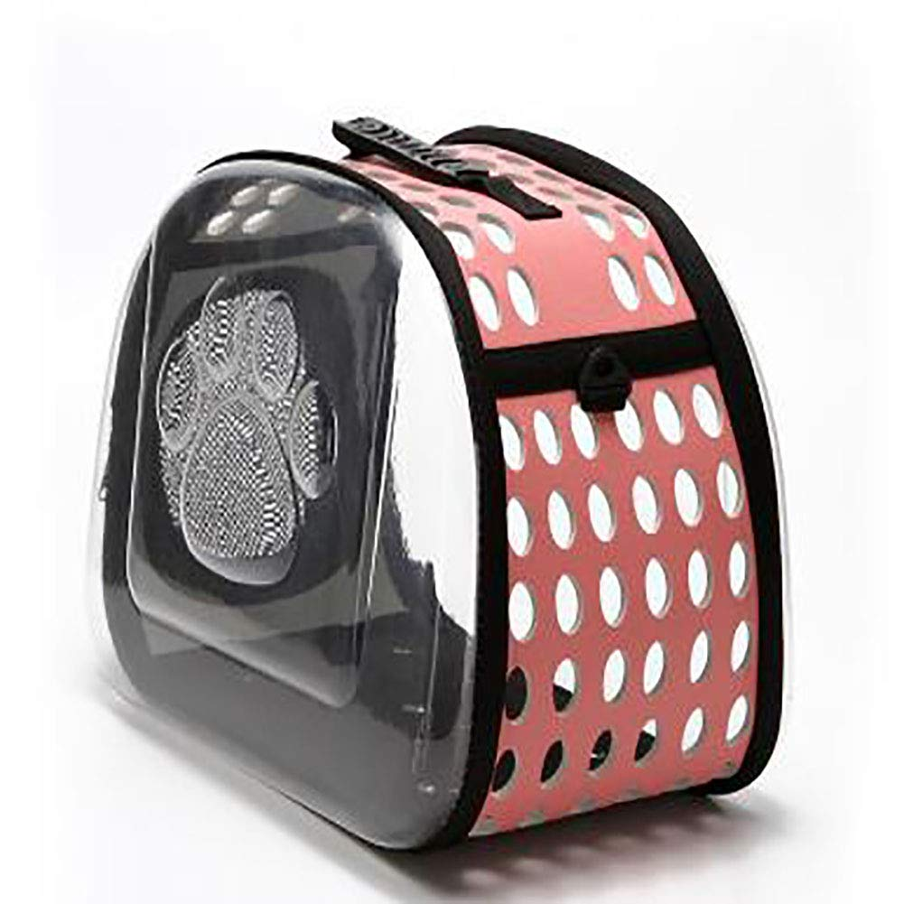 Pink Transparent Pet Carrier Pet Travel Carrier Airline Approved,for Small Dogs and Cats Breathable Holes and Zipper Opening