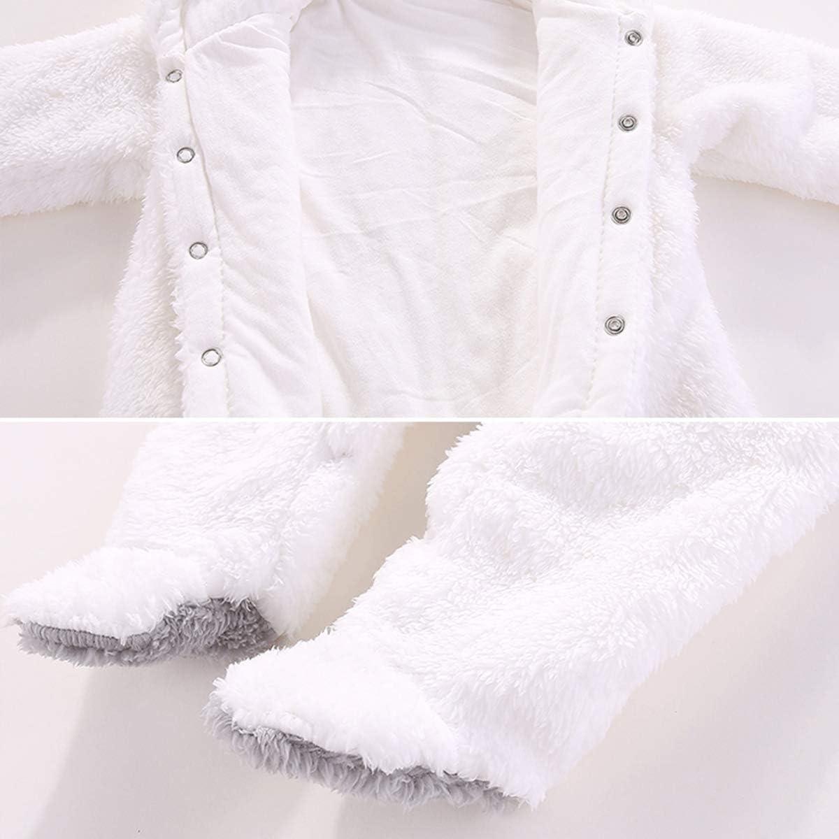 puseky Newborn Baby Cartoon Bear Ear Fleece Warm Hooded Romper Jumpsuit Onesies Bodysuit Outerwear