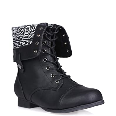 Womens Foldover Cuff Wide Width Wide Calf Zip Combat Boot with Side Snaps