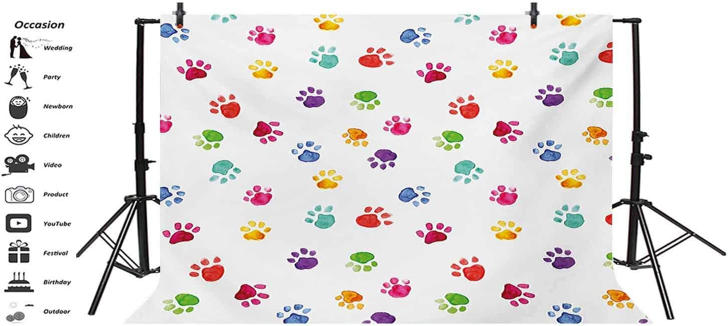 Colorful 10x8 FT Vinyl Photography Backdrop,Hand Painted Illustration of Animal Footprints Cute Vibrant Artwork in Watercolors Background for Baby Birthday Party Wedding Studio Props Photography