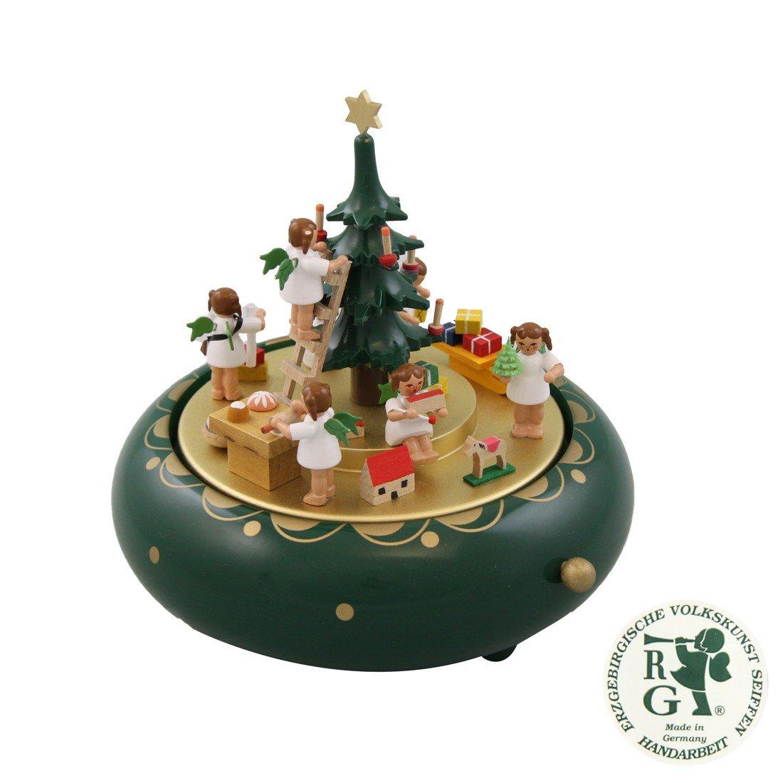 Glässer 08315 Spieldose Engelheimlichkeit - Melodie: Oh Tannenbaum - Weihnachtskrippe in Handarbeit - Höhe: 18 cm