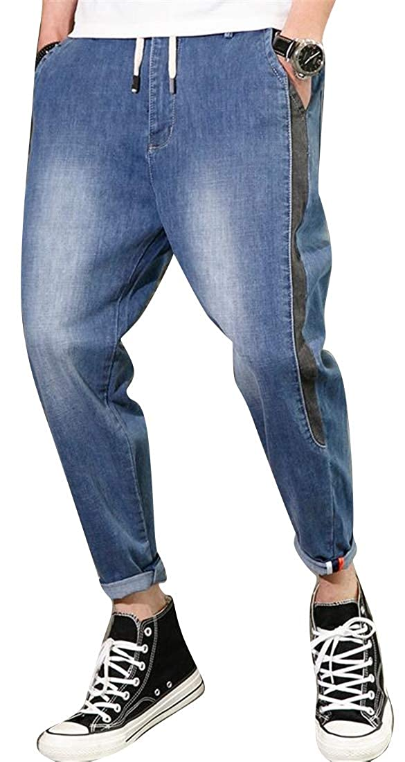 ARTFFEL Mens Plus Size Washed Loose Drawstring Ankle Denim Jeans Pants