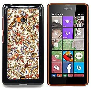 """Qstar Arte & diseño plástico duro Fundas Cover Cubre Hard Case Cover para Nokia Lumia 540 (Floral Retro Vintage Flores Wallpaper colorido"""")"""