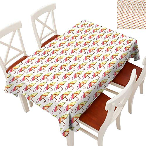 - Umbrella Elegant Waterproof Spillproof Polyester Fabric Table Cover Watercolor Parasols with Colorful Canopies and Swirling Bent Crook Handle Tablecloths for Rectangle/Oblong/Oval TablesOrange Yellow
