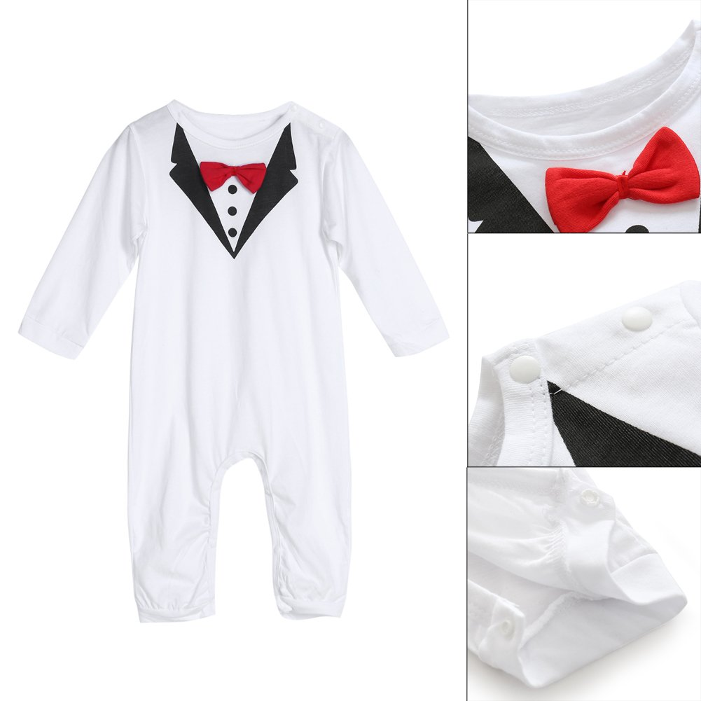 sundengyuey Baby Infant Toddler Boys Gentlemen Bowknot Rompers Long Sleeve Bodysuit