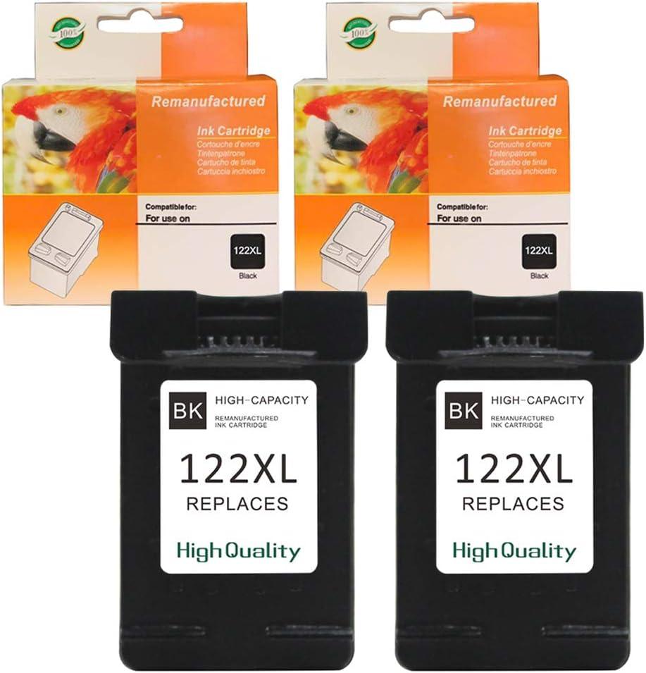 Ninjatoner Remanufactured Ink Cartridge Replacement for HP 122XL 122 XL Used in Envy 4500 5530 Black, 2 Pack DeskJet 1000 1010 1050 1510 2050 2510 3050 Printers