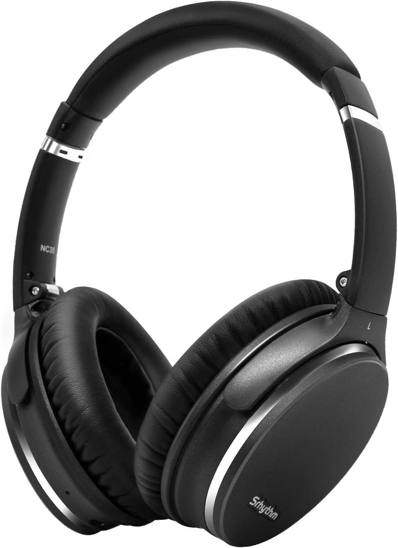 Plegable Auriculares Inalámbricos con Cancelación de Ruido Bluetooth 5.0,Srhythm NC35 ANC Over-Ear con Tipo-C Carga Rápida CVC8.0 Mic,Llamada de Voz,Mega Bass,40+ Horas de Tiempo de Juego (Gun-Negro)
